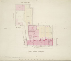 [Drawn plan of property in Upper Street, Islington on the site of the Old Pied Bull Inn]